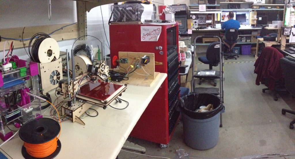 Our Printrbot installed and ready for use at the Vancouver Hack Space.