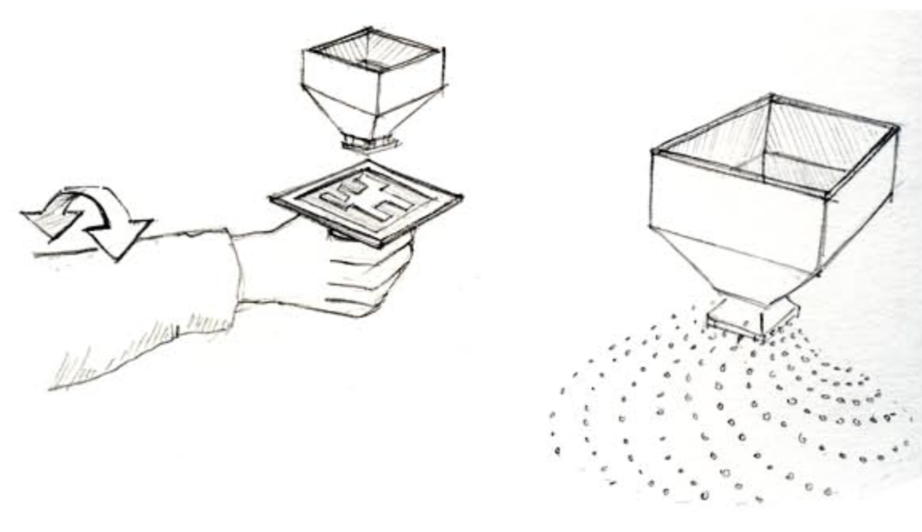 Early concept art showing the augmented reality dispenser controlled by the hand-held marker tile.