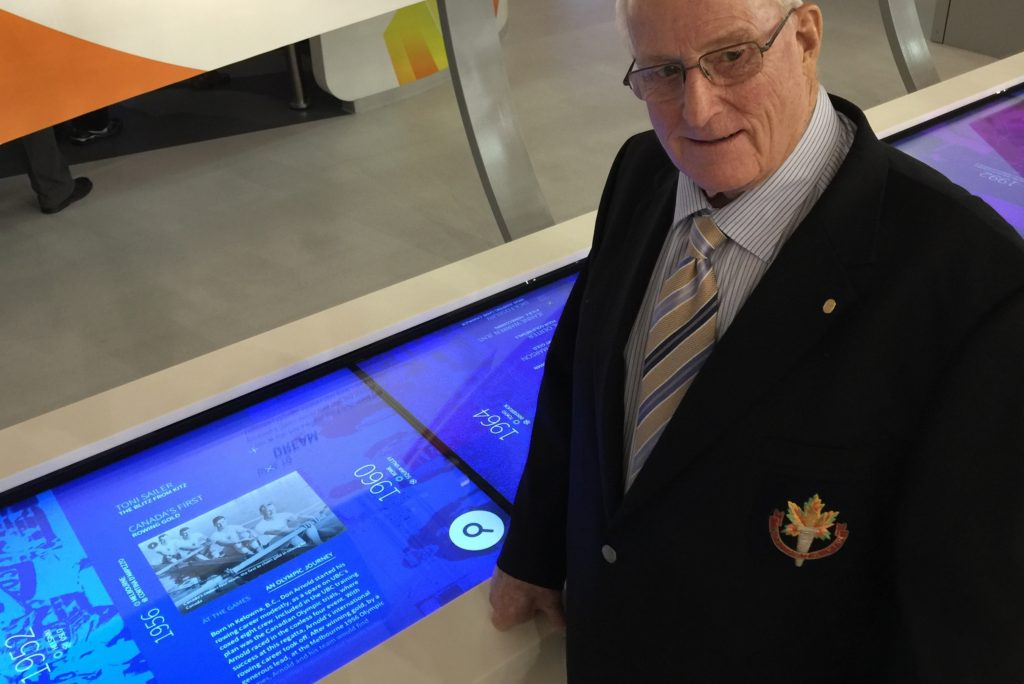 1960 Olympic Gold medalist Don Arnold with his story on ROX's multi-touch timeline.